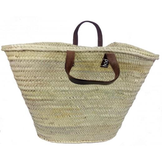 Košík nákupní - palmové listy, kožené krátké ucho