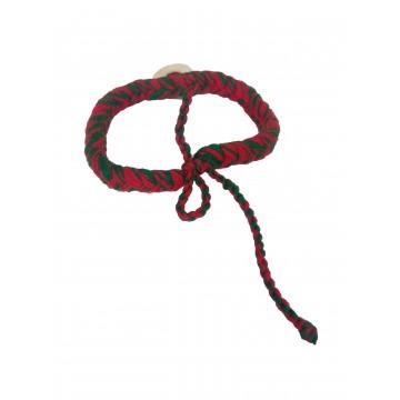 Náramek - pletená bavlna, mušle kaurí