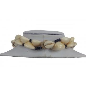 Náhrdelník - mušle, 2 řady, skl. korálky, zapínání mušle