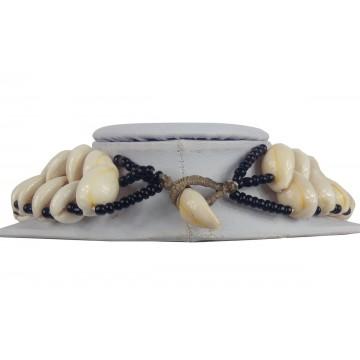 Náhrdelník - mušle, řada 2, skl. korálky, zapínání mušle