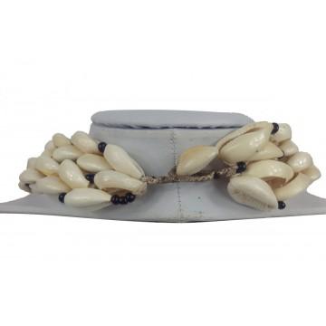 Náhrdelník - mušle, 4 řady, skl. korálky, zapínání mušle