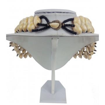 Náhrdelník - mušle, řada 2 + 5, skl. korálky, zap. mušle
