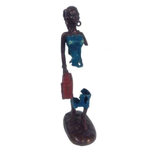 Bronzová soška - stín, mladá žena s aktovkou