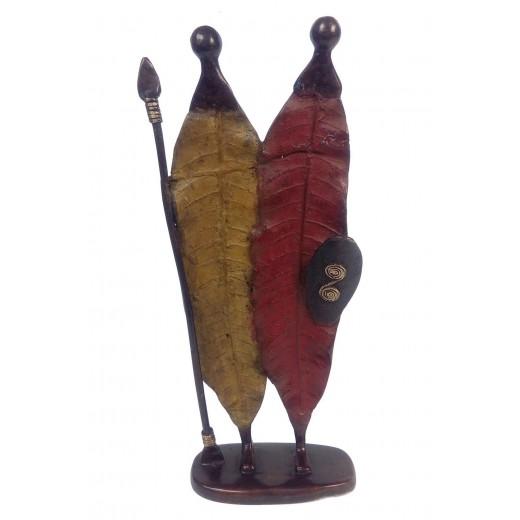 Soška bronzová – listy / masajský pár