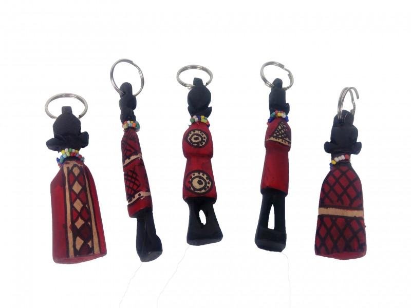 Klíčenka – Masaj, tropické dřevo - barvené, Keňa