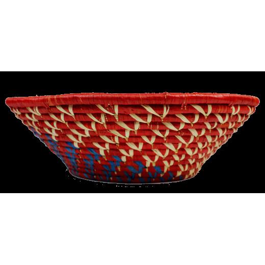 Ručně pletená ošatka - košík z palmových listů a rafie