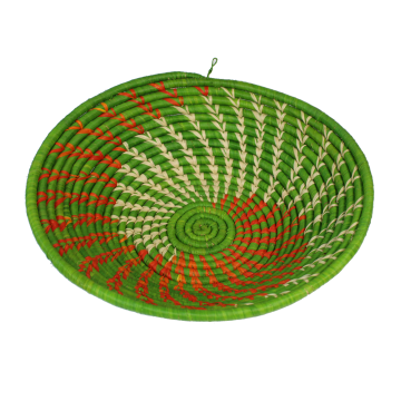 Košík/ošatka z trávy a vlákna rafie, Uganda