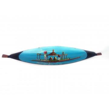 Člun - teakové dřevo s malbou