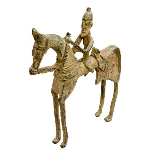 Dogonská bronzová soška - jezdec na koni