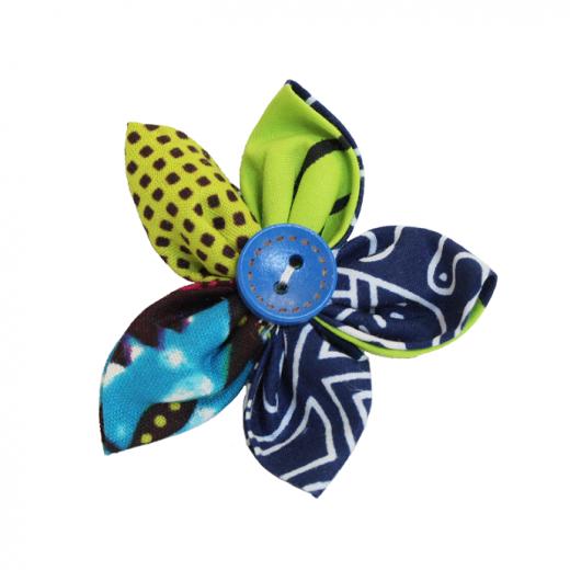Textilní brož z africké bavlněné látky 6 cm
