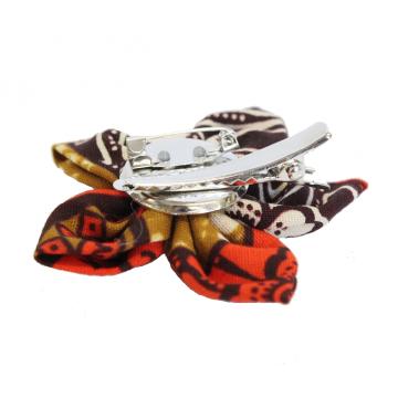 Textilní brož z africké bavlněné látky 8 cm