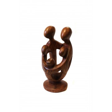 Dřevěná soška - 5 členná rodina