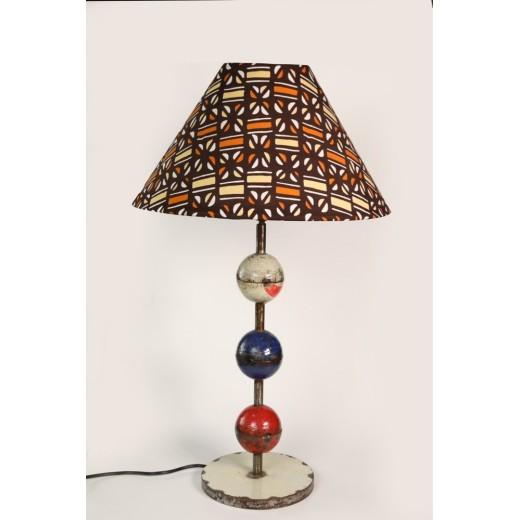 Zvětšit Stylová stolní lampa z recyklovaného kovu a africké textilie