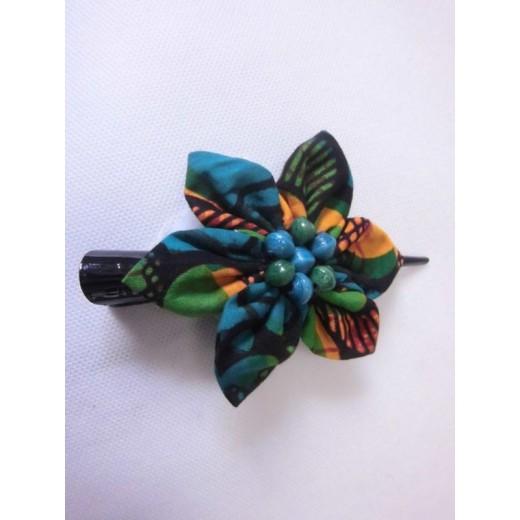 Sponka z afrického textilu a korálků z recykl. papíru