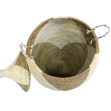 Africký úložní koš s víkem a z palmových listů