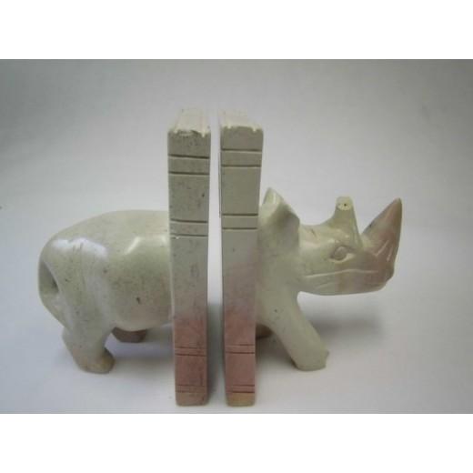Držák nosorožec na knihy z mýdlového kamenu