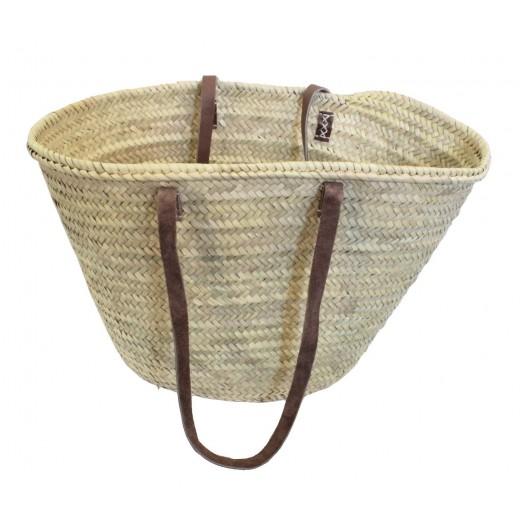 Košík nákupní – palmové listy, dlouhé kožené ucho, Maroko