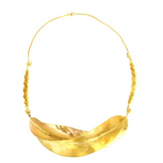 Bronzový náhrdelník Fulani - 1 stočený listek